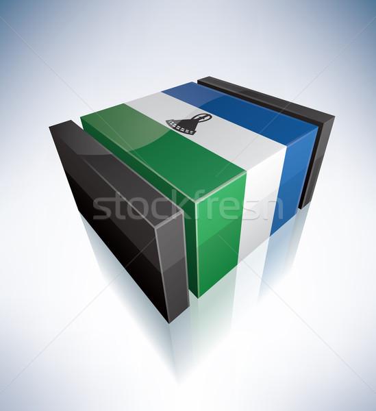 3D pavillon Lesotho Afrique uni drapeaux Photo stock © Vectorminator