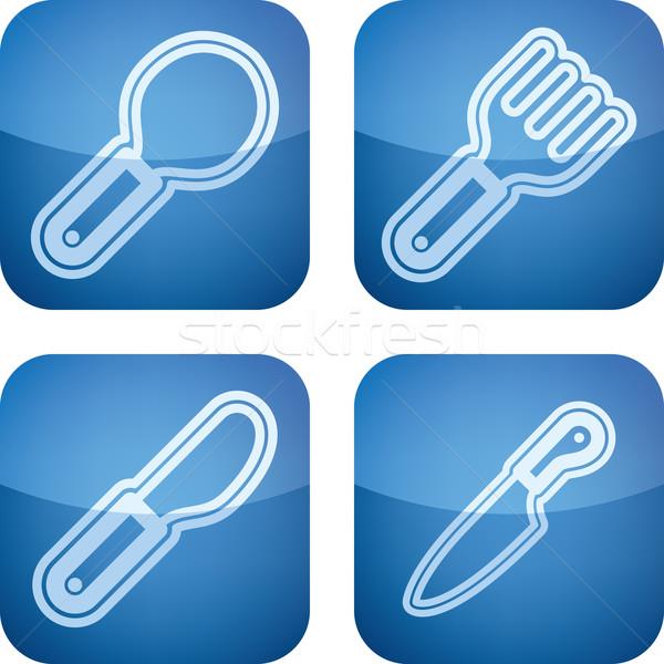 Mutfak aletleri mutfak nesneler doğru kaşık çatal Stok fotoğraf © Vectorminator