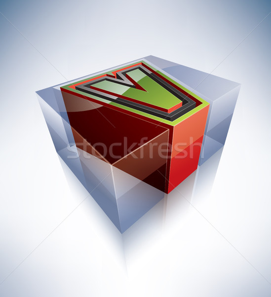 3D alphabet: Capital letter V Stock photo © Vectorminator