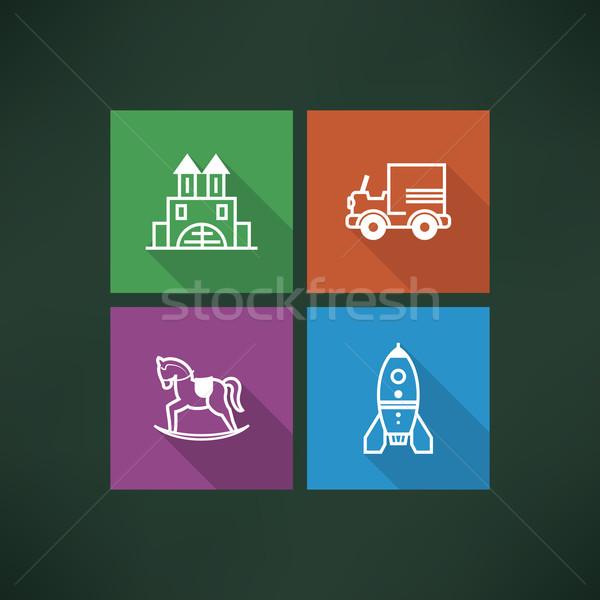 Jouets pour bébés sûr enfants jouets ici Photo stock © Vectorminator