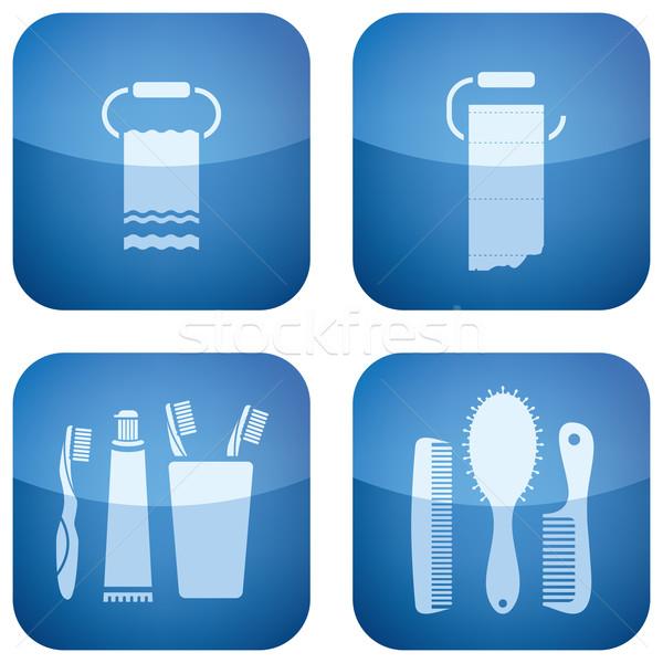 Keuken alledaags tools kobalt vierkante Stockfoto © Vectorminator
