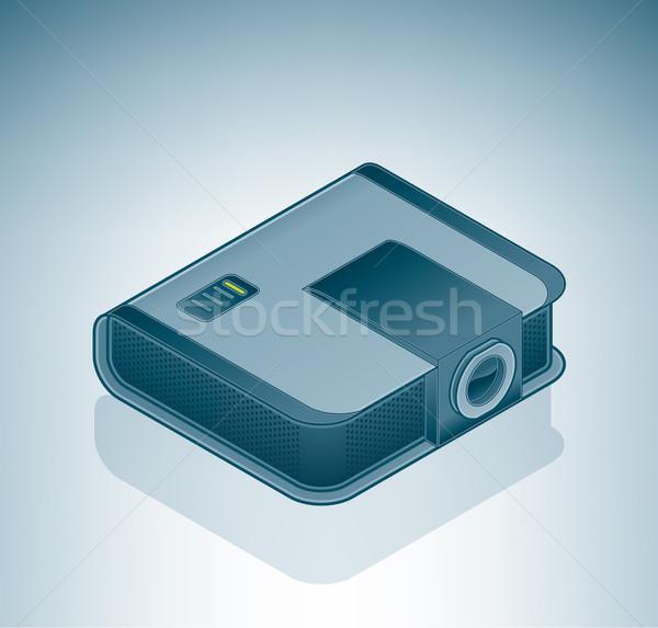 Ofis toplantı projektör izometrik 3D bilgisayar Stok fotoğraf © Vectorminator