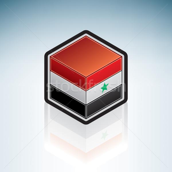 észak Jemen Ázsia zászló 3D izometrikus Stock fotó © Vectorminator