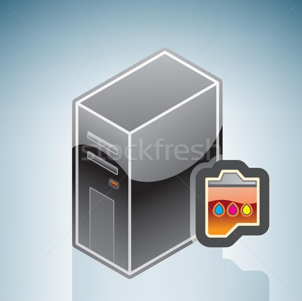 Computador inkjet cartucho isométrica 3D ferragens Foto stock © Vectorminator