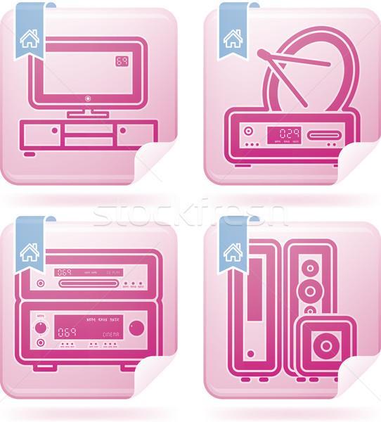 Mindennapi otthon tárgyak ház helyes televízió Stock fotó © Vectorminator