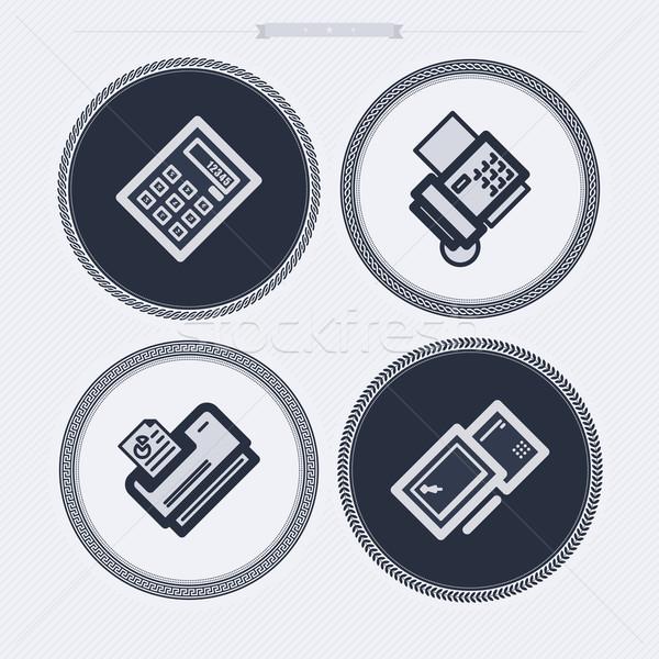 Bureau fournir objets simulateur télécopieur imprimante Photo stock © Vectorminator