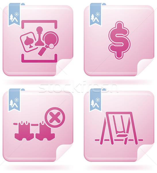 Camping Symbole unterschiedlich Spiele Zimmer Dollarzeichen Stock foto © Vectorminator