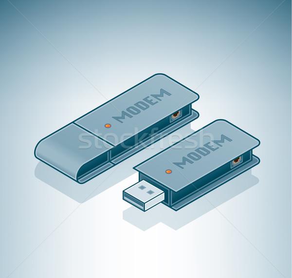 Usb modem isométrica 3D computador ferragens Foto stock © Vectorminator