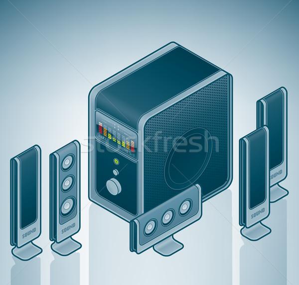 Bilgisayar ev sineması hoparlörler izometrik 3D donanım Stok fotoğraf © Vectorminator