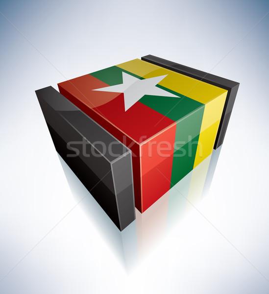 3D флаг Мьянма Азии республика Союза Сток-фото © Vectorminator