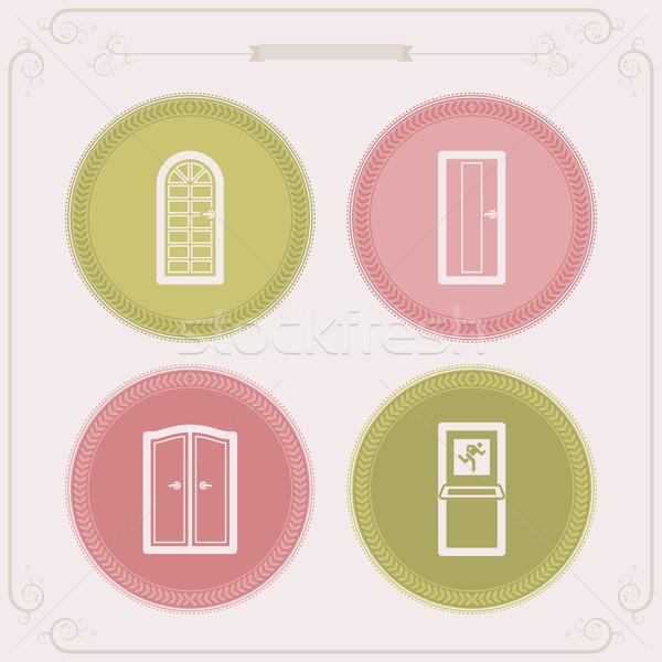 дома объекты право стекла дверей удвоится Сток-фото © Vectorminator