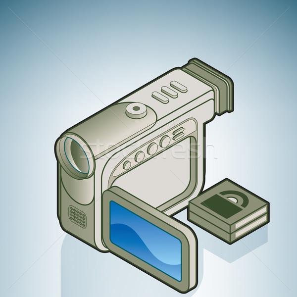 Сток-фото: небольшой · цифровая · камера · кухне · изометрический · 3D