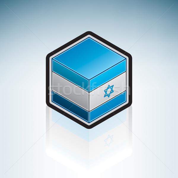 Israël midden oosten vlag 3D isometrische stijl Stockfoto © Vectorminator