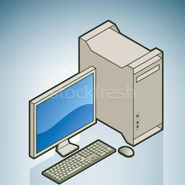 Otthon kicsi iroda számítógép számítógép alkatrész konyha Stock fotó © Vectorminator