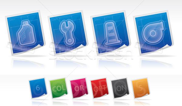 Auto onderdelen blauwdruk stijl Stockfoto © Vectorminator