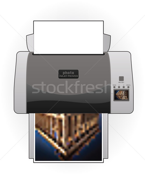 Stock photo: Medium Home Color Photo InkJet Printer Top View