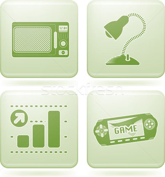 Stock photo: Olivine Square 2D Icons Set