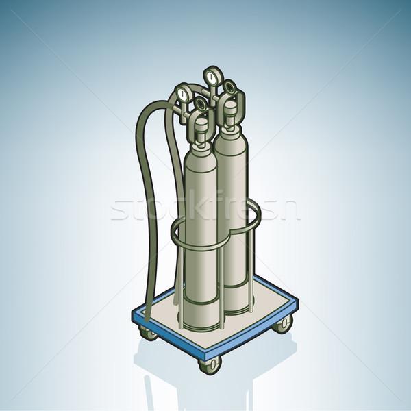 Oxigén henger kórház hardver izometrikus 3D Stock fotó © Vectorminator