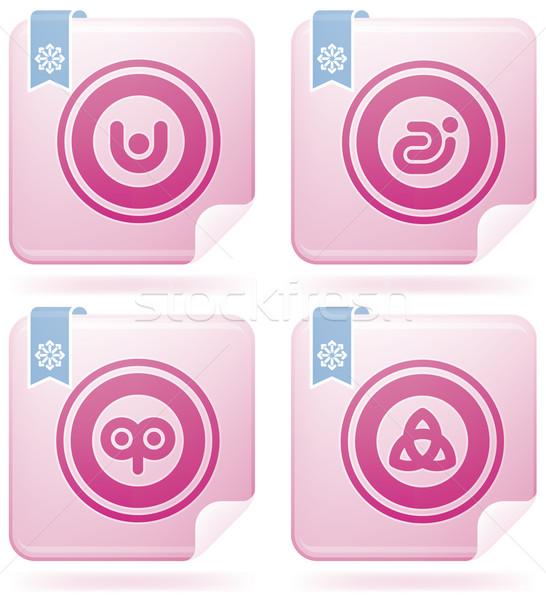 Flamingo Square 2D Icons Set: Abstract Stock photo © Vectorminator