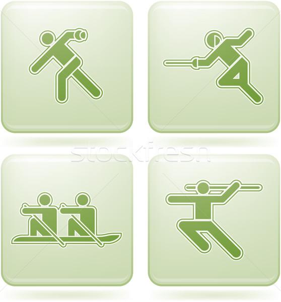 кобальт квадратный спорт синий иконки Сток-фото © Vectorminator