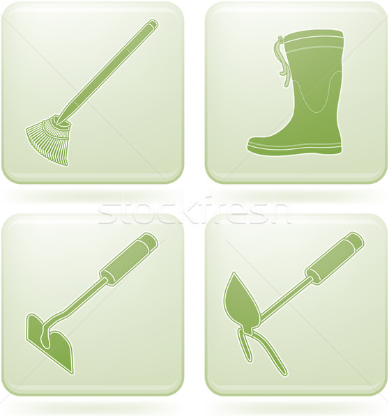 Olivine Square 2D Icons Set: Garden Tools Stock photo © Vectorminator