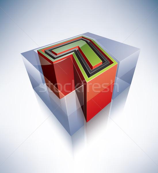 3D alfabet cyfra przezroczysty kostkę lodu jak Zdjęcia stock © Vectorminator