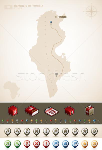Republika Tunezja Afryki mapy dodatkowo Zdjęcia stock © Vectorminator