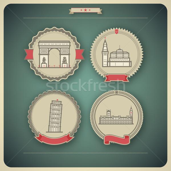 Monde célèbre architecture autour ici Photo stock © Vectorminator