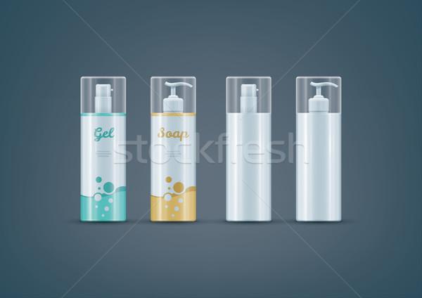 Szappan gél üvegek vázlat szett prémium Stock fotó © Vectorminator