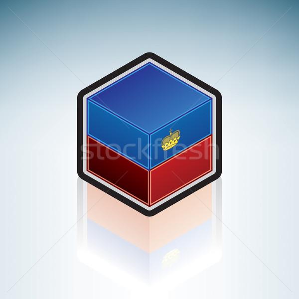 Liechtenstein Europa bandiera 3D isometrica stile Foto d'archivio © Vectorminator