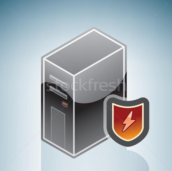 Firewall bescherming isometrische 3D computer hardware Stockfoto © Vectorminator