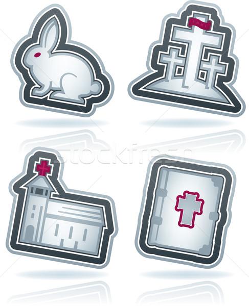 Pâques icônes symboles christian haut Photo stock © Vectorminator