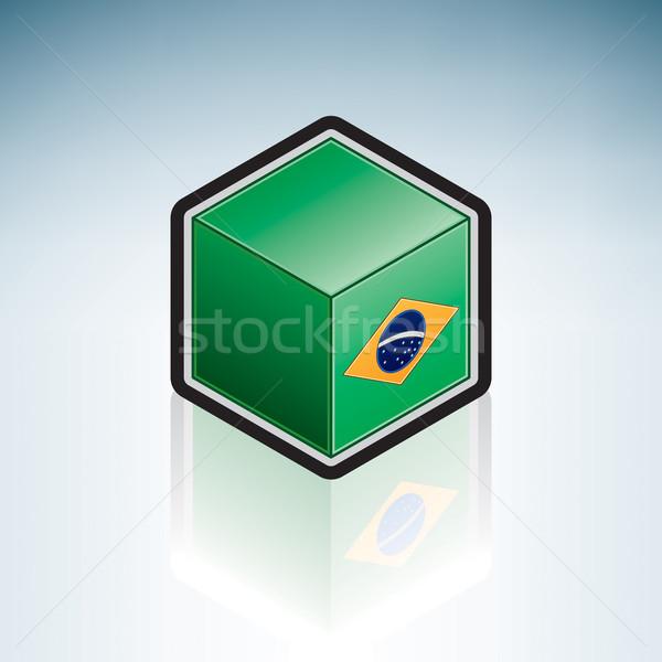 Сток-фото: Бразилия · Южной · Америке · флаг · республика · 3D · изометрический