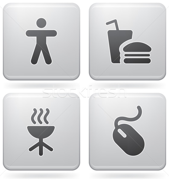 Internet pictogrammen alledaags iconen man grill Stockfoto © Vectorminator