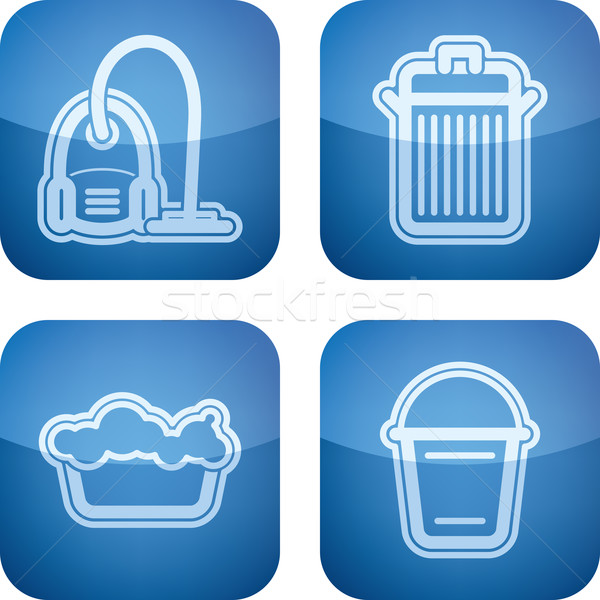 Schoonmaken keuken objecten stofzuiger afval Stockfoto © Vectorminator