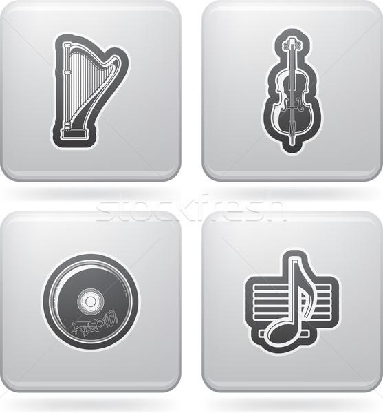 Muzyki ikona tutaj górę dolny Zdjęcia stock © vectorminator