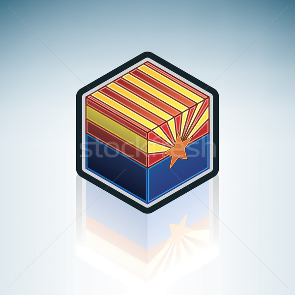 Stock fotó: Arizona · zászló · Egyesült · Államok · Amerika · 3D · izometrikus