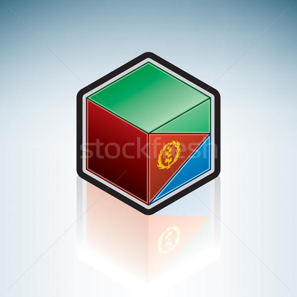 Erytrea Afryki banderą 3D izometryczny stylu Zdjęcia stock © Vectorminator