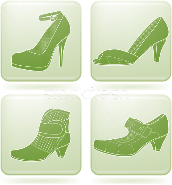 Cobalt Square 2D Icons Set: Woman's Shoes Stock photo © Vectorminator