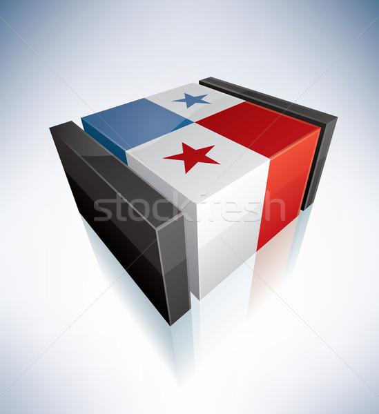 ストックフォト: 3D · フラグ · パナマ · 共和国 · フラグ