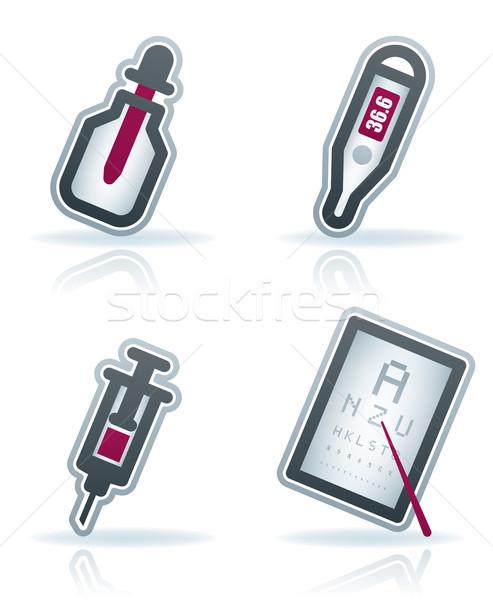 здравоохранения иконки 22 синий здесь Сток-фото © Vectorminator