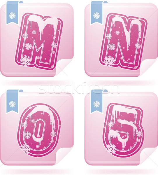 Dígitos cartas invierno Navidad estilo Foto stock © Vectorminator