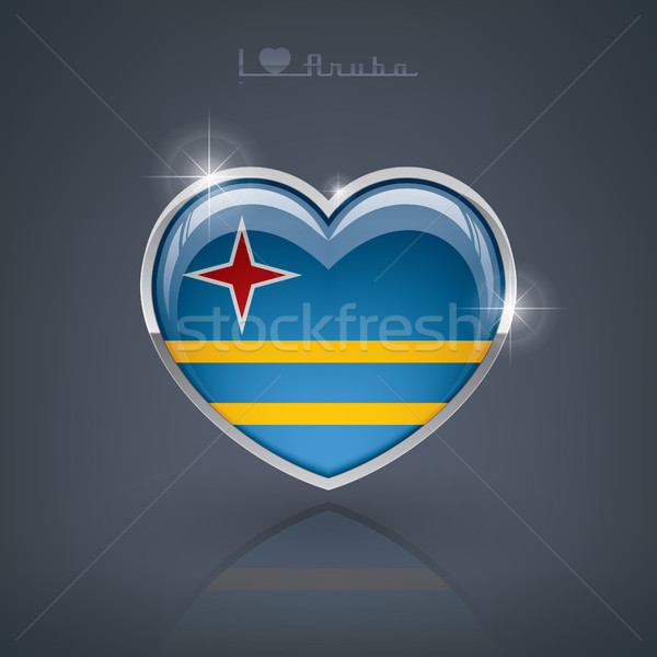Fényes szív alak zászlók szív mű átláthatóság Stock fotó © Vectorminator