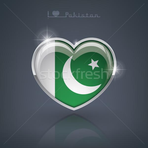 Pakistan glanzend hartvorm vlaggen republiek Stockfoto © Vectorminator