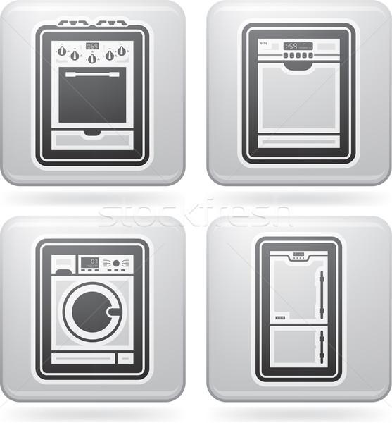 Huis objecten wasmachine koelkast alle Stockfoto © Vectorminator