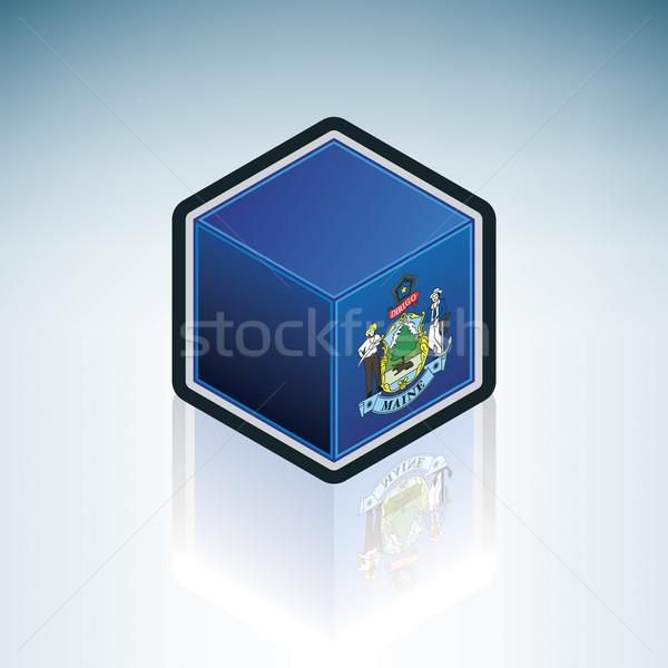 Maine vlag Verenigde Staten amerika 3D isometrische Stockfoto © Vectorminator