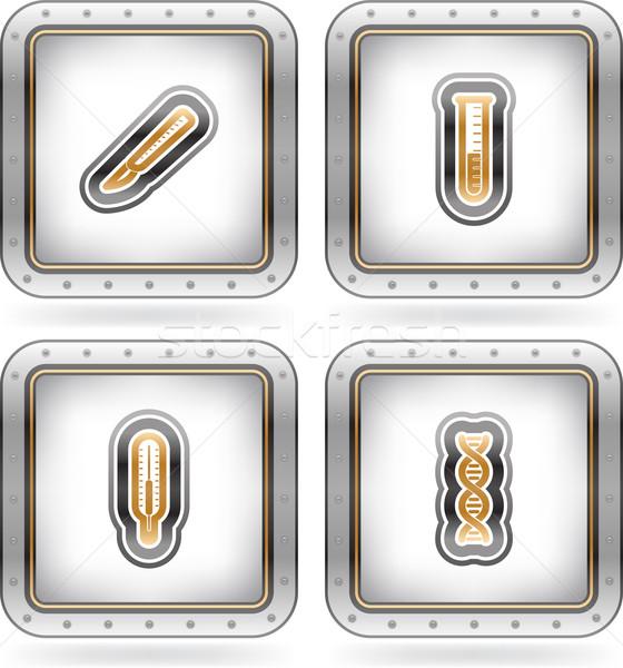 Egészségügy orvosi vészhelyzet ikonok itt helyes Stock fotó © Vectorminator