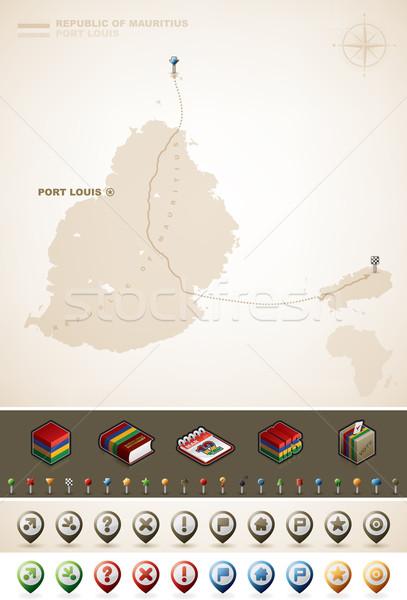 Ile Maurice république Afrique cartes supplémentaire Photo stock © Vectorminator