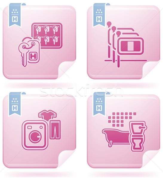 Hotel ikonok különböző lobbi recepció személyzet Stock fotó © Vectorminator