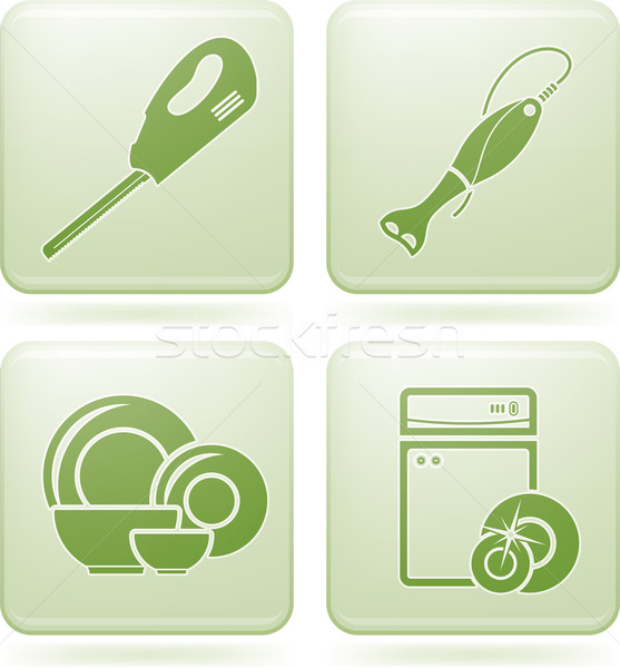 Cobalt Square 2D Icons Set: Kitchen utensils Stock photo © Vectorminator